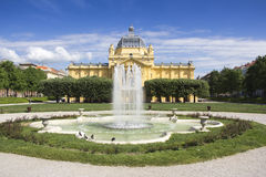 The fountain in front Art pavilion in Zagreb Royalty Free Stock Photo