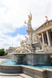 Fountain in front of Austrian Parliament Royalty Free Stock Photography