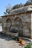 Fountain in front of at Barnabas church. Fountain in front of at St.Barnabas Church in turkish Republic of Northern Cyprus stock photo