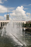 A fountain in front of the Finlyandsky Railway Station in Saint Petersburg Royalty Free Stock Photography