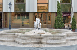 Fountain in front of Hilton Hotel in Budapest castle, Hungary. Stock Photography