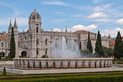 Fountain in front of Jeronimos monastery Stock Image