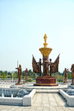 The fountain in front of Kumsusan Palace of the Sun. Pyongyang, DPRK - North Korea. April 30, 2017 stock photography