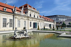 Fountain in front Lower Belvedere, Vienna, Austria Royalty Free Stock Images