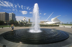 Fountain in front of Milwaukee Art Museum on Lake Michigan, Milwaukee, WI Stock Photo