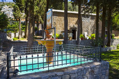 Fountain in front of monastery of Mother Mary Vidiani in Crete. Stock Photos