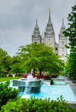 Fountain in front of the Mormons' Temple in Salt Lake City, UT Stock Photos