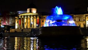Fountain in front of National Gallery, London stock footage
