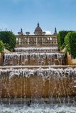 Fountain in front of the National Museum in Barcelona, Spain royalty free stock images