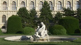 Fountain in front of Natural History Museum in Vienna stock video footage