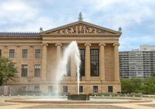 Fountain in front of the North Wing of the Philadelphia Museum of Art. Pictured is a fountain in front of the North Wing of the Philadelphia Museum of Art. The Stock Image