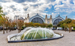 Fountain in front of the Railway Station of Tours. France Royalty Free Stock Photos