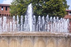 Fountain in front of the Sforza castle in Milan, Italy.  royalty free stock photos