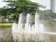 Fountain in garden. Close up royalty free stock photography