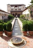 Fountain at a garden of Alhambra Palace in Granada, Spain, Europe Stock Photography