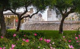 Fountain and garden Barcelona Royalty Free Stock Photo