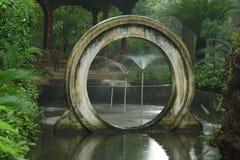 Fountain garden in rainy day.  Stock Photo