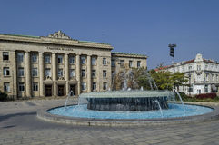 Fountain at garden in Ruse town Royalty Free Stock Photo