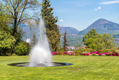 The fountain in the garden of Villa Taranto, Verbania, Italy. Royalty Free Stock Photography
