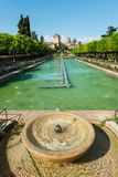 Fountain and gardens of the Alcazar de los Reyes Cristianos Stock Image