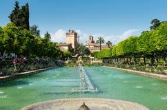 Fountain and gardens of the Alcazar de los Reyes Cristianos Stock Images