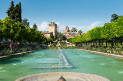 Fountain and gardens of the Alcazar de los Reyes Cristianos Stock Images