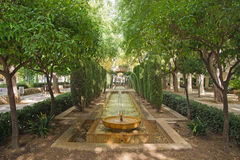 Fountain in the gardens of Hort del Rei. At the Cathedral of Palma de Majorca, Spain, Balearic Islands Royalty Free Stock Image