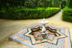 Fountain in gardens of Reales Alcazares, Sevilla Stock Photography