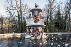 Fountain in the gardens of the Royal Palace of La Granja Stock Photography