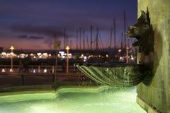 Fountain. Gargoyle fountain in Gijon, Spain Stock Photography