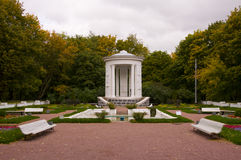 The fountain, gazebo and flower bed Royalty Free Stock Photos