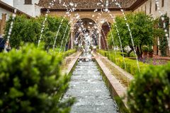 Fountain in Generalife gardens Stock Photos