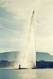 Fountain in Geneva with retro filter effect, Switzerland Royalty Free Stock Images