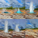 Fountain Geyser throws hot water Royalty Free Stock Image
