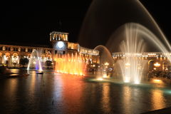 Fountain at the Government of the Republic of Armenia at night, Royalty Free Stock Photography