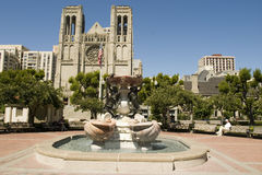 Fountain and Grace Cathedral Stock Image