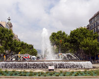 Fountain  Gran Via Barcelona Spain Stock Photos