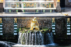 Fountain of the Grand Cascade in Peterhof. Golden girl fountain. Royalty Free Stock Photos