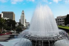 Fountain in Grand Park by Los Angeles City Hall. Royalty Free Stock Photography