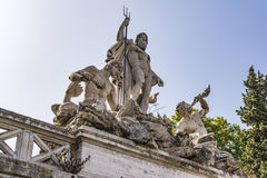 Fountain of Greek God Neptune, Piazza del Popolo, Rome, Italy Stock Image