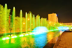 Fountain in green. Beautiful fountain in green shot during the night Royalty Free Stock Images