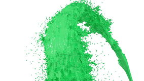 Fountain of green paint like car paint on white background with alpha matte use it like alpha channel. version 4. Fountain of green paint like car paint on white stock video