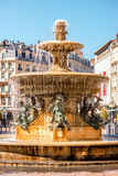 Fountain in Grenoble city. Grenoble old city fountain on Place Grenette on the south-east of France Royalty Free Stock Photography
