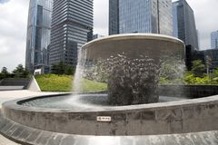 Fountain and group modern builings in Shenzhen