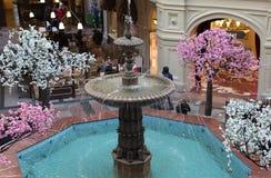 Fountain in GUM shopping mall Stock Photos