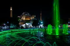 Fountain and Hagia Sofia in Istanbul, Turkey. stock image