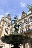 Fountain at hamburg Town Hall Royalty Free Stock Photography