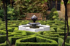 Fountain. hedge boxes. garden. park. Stock Photos