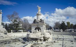 Fountain of hercules, Gardens of the city of Aranjuez, located i. N Spain. Stone palace and beautiful autumn landscapes with beautiful fountains and mythological Royalty Free Stock Images