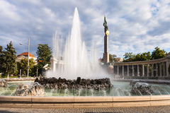 Fountain and Heroes Monument of the Red Army Stock Images